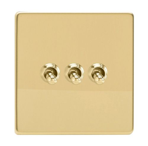 Varilight XDVT3S Screwless Polished Brass 3 Gang 10A 1 or 2 Way Toggle Light Switch